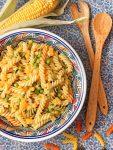 Corn, Pea & Tangerine Pasta Salad - vegan, quick & easy! The perfect summer salad 💚