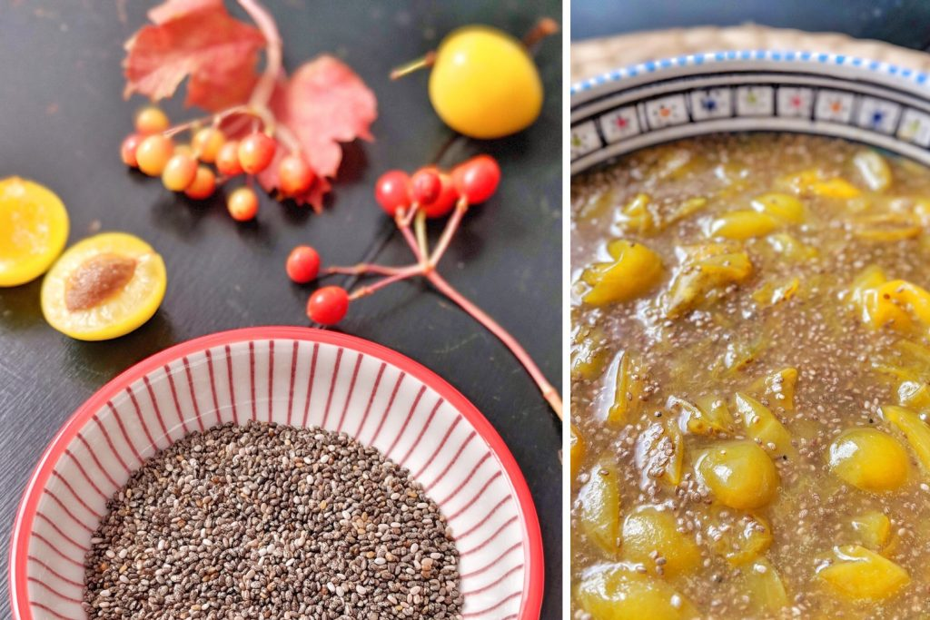 Easy Chia Mirabelle Compote - vegan & naturally sweetened