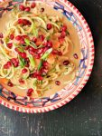Peanut zoodles with pomegranate jewels - vegan, low carb & gluten-free