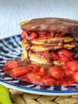 Easy recipe for fluffy Vegan Breakfast Pancakes. They are the perfect healthy weekend treat. Made with oats & naturally sweetened with maple syrup. Best enjoy them with fruity strawberry compote or decadent chocolate sauce. Heavenly! | inlovewithbliss.com #vegan #pancake #easy #healthy #breakfast